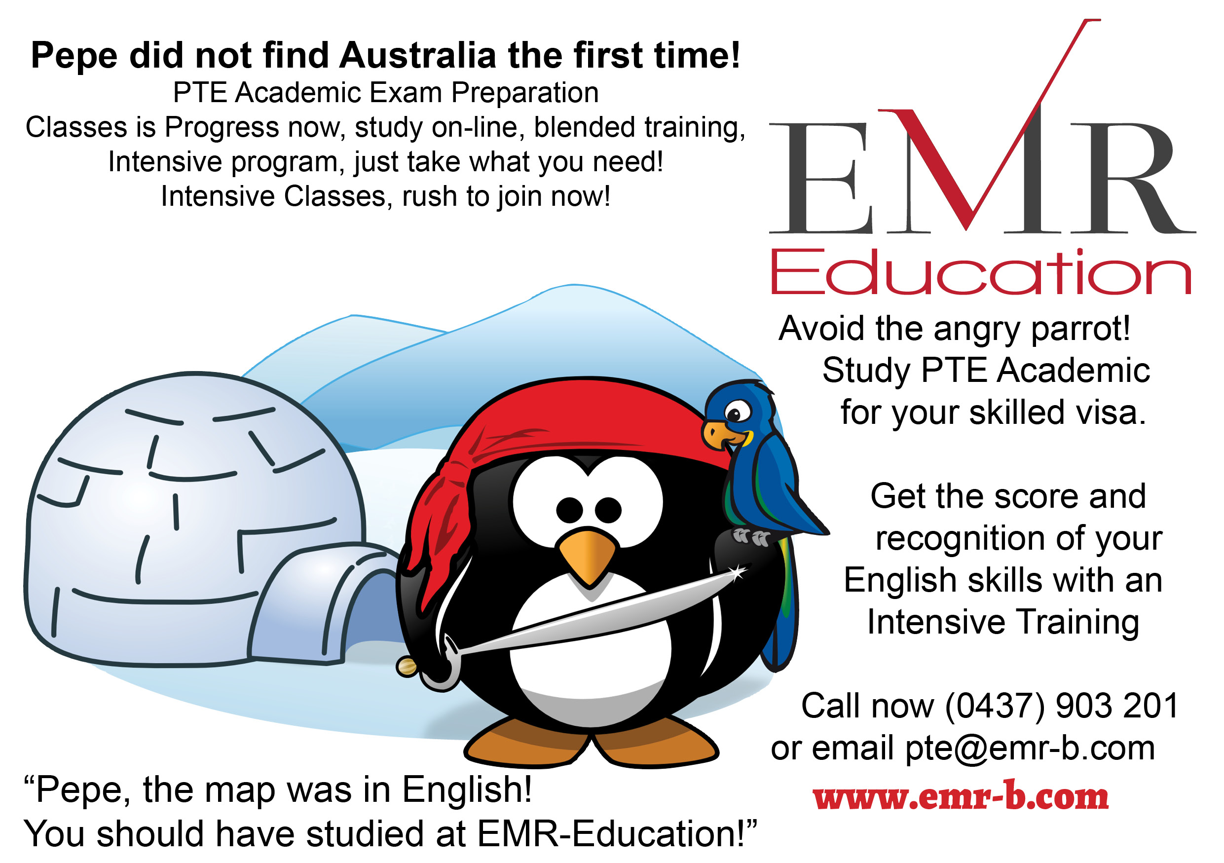 Pepe Lost his way to Australia, take PTE Training @EMR